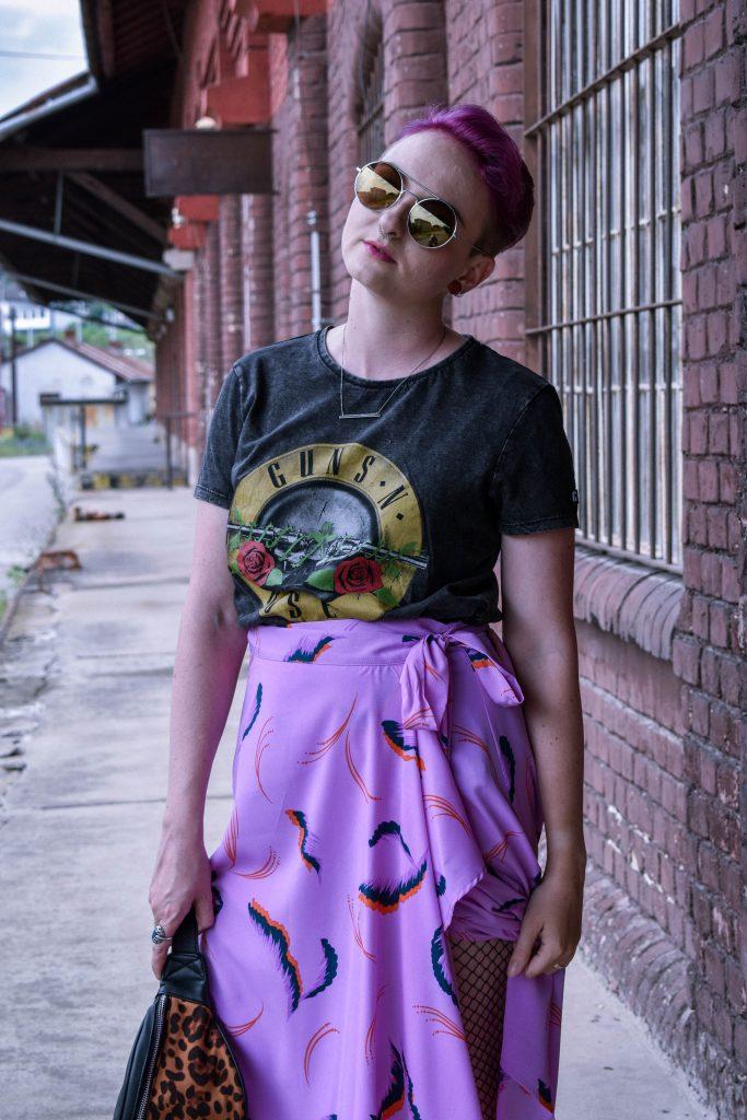 fialová sukňa